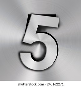 Number five on Metal background texture
