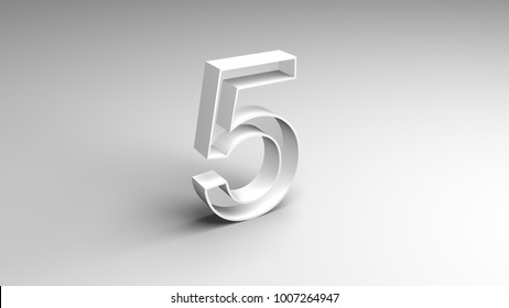 Number five on a white background, 5st (3D rendering)