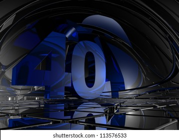 number forty in abstract mirror space - 3d illustration
