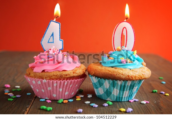 Number Forty Birthday Candles On Blue Stock Photo  Edit