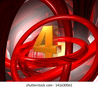 number four in abstract futuristic space - 3d illustration