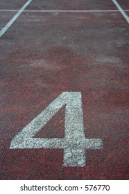 Number four position at the start of a racetrack