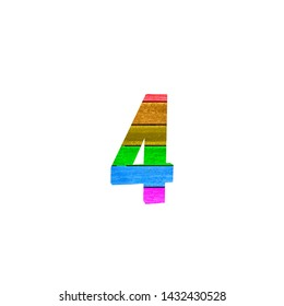 Number four with Rainbow Gay Flag Made in Wood on white Isolated Background