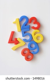 number fridge magnets displaying 1-9 in a messy order