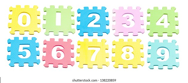 Number learning blocks isolated over white
