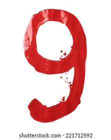 Number nine digit character hand drawn with the oil paint brush strokes isolated over the white background