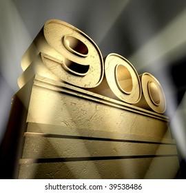 Number nine hundred in golden letters on a pedestal in sunbeams