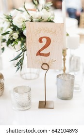 Number on a table in restaurant. Festive banquet.