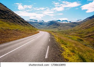 number one asphalt road in iceland in summer