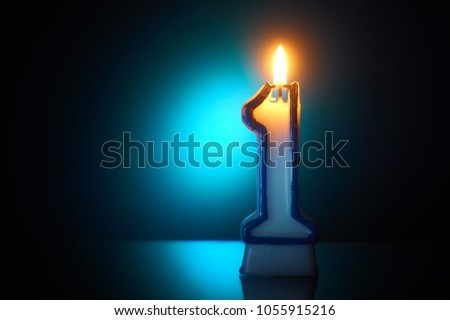 Number One Burning Birthday Candle Stock Photo Edit Now 1055915216