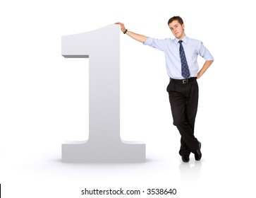 number one with a business man next to it - isolated over a white background