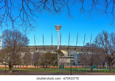 The number one floodlight tower at a sports stadium in Melbourne, Victoria, Australia
