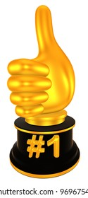 number one gold award, 3d render isolated on white