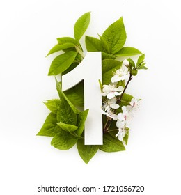 Number one with green leaves. Minimal summer concept. Flat lay.