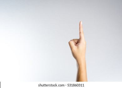 Number one index finger on white background