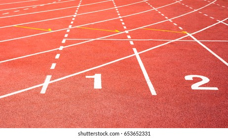 number one in red  running track on the athletic stadium