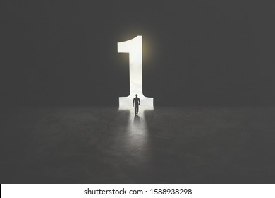 number one shaped as a hole in concrete wall, victory concept