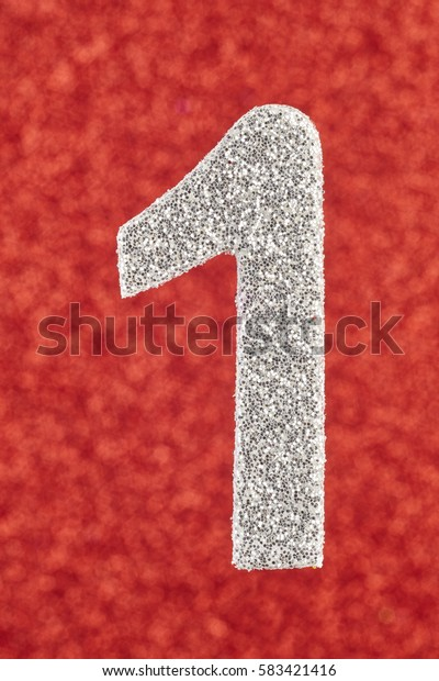Number one silver color over a red background. Anniversary. Vertical