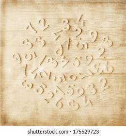 Number scattered on wooden table