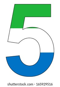 Number series with flag inside - Sierra Leone