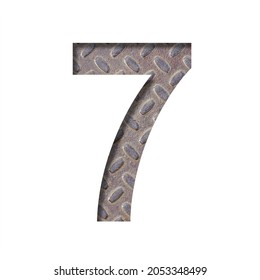 The number seven, 7 is cut from white paper against the background of an industrial sheet of rusty steel. Decorative alphabet.