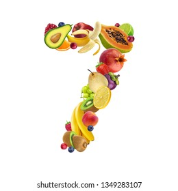 Number seven made of different fruits and berries, fruit alphabet isolated on white background with clipping path