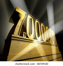Number seven million in golden letters on a golden pedestal
