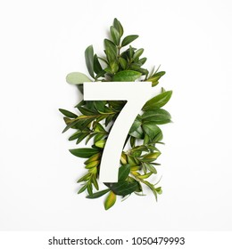 Number seven shape with green leaves. Nature concept. Flat lay. Top view
