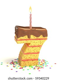 number seven shaped chocolate birthday cake with lit candle and confetti