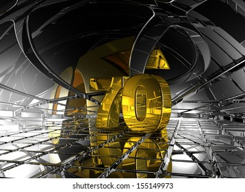 number seventy in abstract futuristic space - 3d illustration