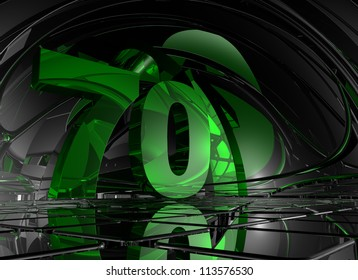 number seventy in abstract mirror space - 3d illustration
