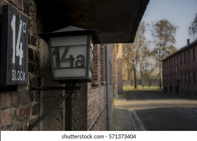 Number of shack in concentration camp on a lamp