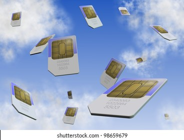 a number of sim cards falling from the sky / sim card