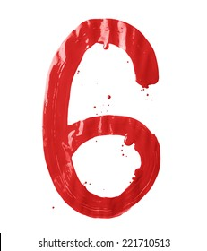 Number six digit character hand drawn with the oil paint brush strokes isolated over the white background