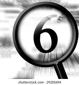 number six with magnifier on a white background