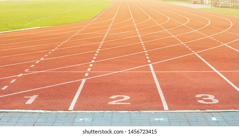 The number at start point of running track or athlete track in stadium. Running track is a rubberized artificial running surface for track and field athletics.
