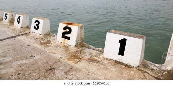 Number starting blocks at Merewether Ocean Baths - Newcastle Australia