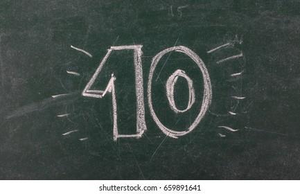 Number ten on chalkboard, blackboard texture