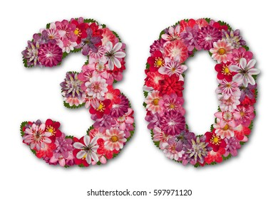 number thirty made of red hepatica flowers, 30 th birthday
