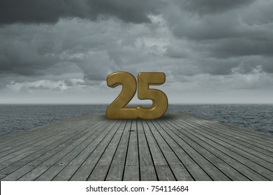 number twenty five on wooden floor at ocean