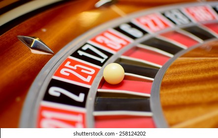 number twenty five at the roulette wheel in casino close up details