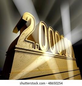Number two million in golden letters on a golden pedestal