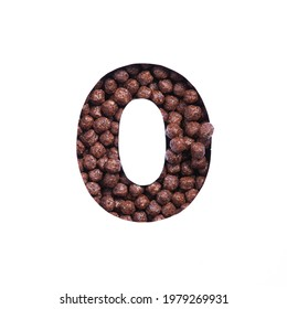 Number zero of chocolate cereal balls, white paper cut in shape of null numeral. Typeface for healthy products store