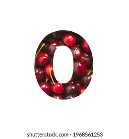 Number zero made of cherries and paper cut in shape of null isolated on white. Typeface of berries
