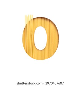 Number zero made of italian pasta spaghetti, paper cut null shape on white. Typeface for products packaging design