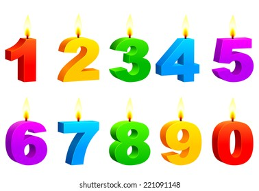 Numbered color candles.