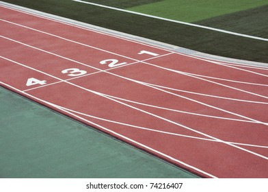 numbered running track for athletes