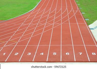 Numbered Running Tracks Of A Stadium