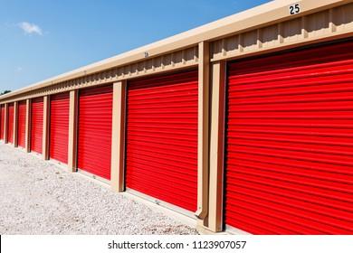 Numbered self storage and mini storage garage units III