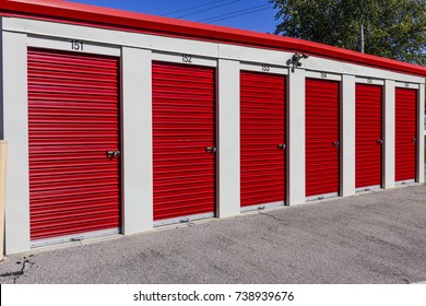 Numbered self storage and mini storage garage units I